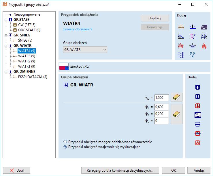 Różne typy obciążeń dostępne w programie