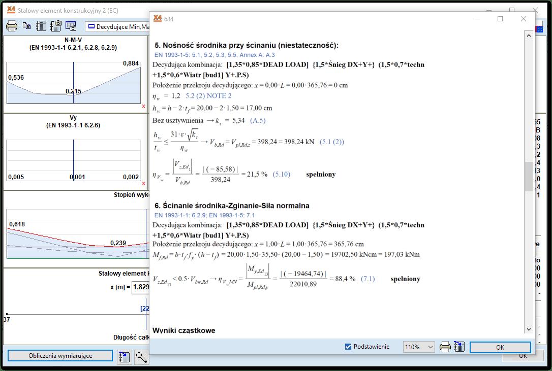 Rozpisany tok obliczeń wymiarowanego elementu