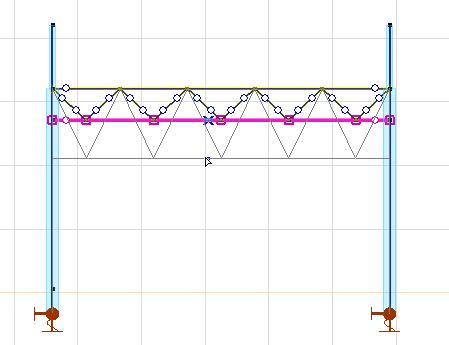 Zmiana wysokości kratownicy poprzez przeciągnięcie jej pasa dolnego