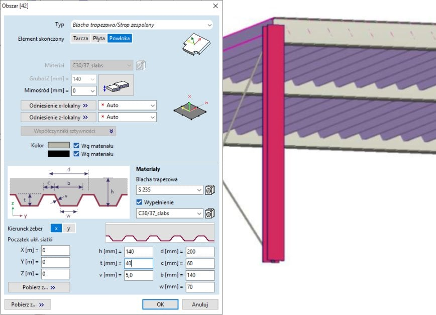 Okno z parametrami definiującymi obszar jako blachę trapezową lub strop zespolony.