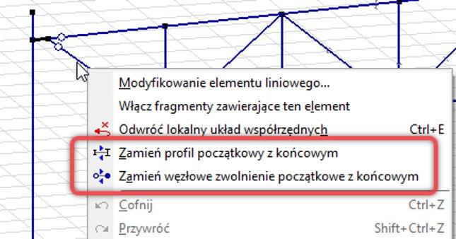 Menu podręczne z opcjami do zamiany charakterystyk na końcach elementu prętowego.