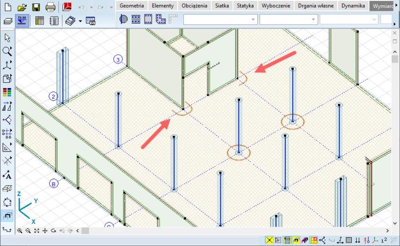Oznaczenia graficzne na modelu globalnym miejsc, w których przeprowadzono weryfikację płyty fundamentowej na przebicie od słupów i ścian.