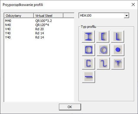 Tabela z nierozpoznanymi profilami podczas importu plików DSTV (*.stp)