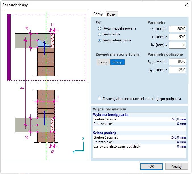 Definicja warunków podparcia ściany, która bezpośrednio wpływa na wartość mimośrodu siły przekazywanej przez strop